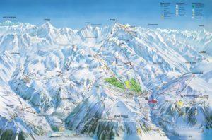 Plánek sjezdovek v Alpe d'Huez